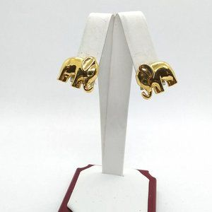 Jewelry - Good Luck Elephant Earrings, Stud Posts, Gold Tone